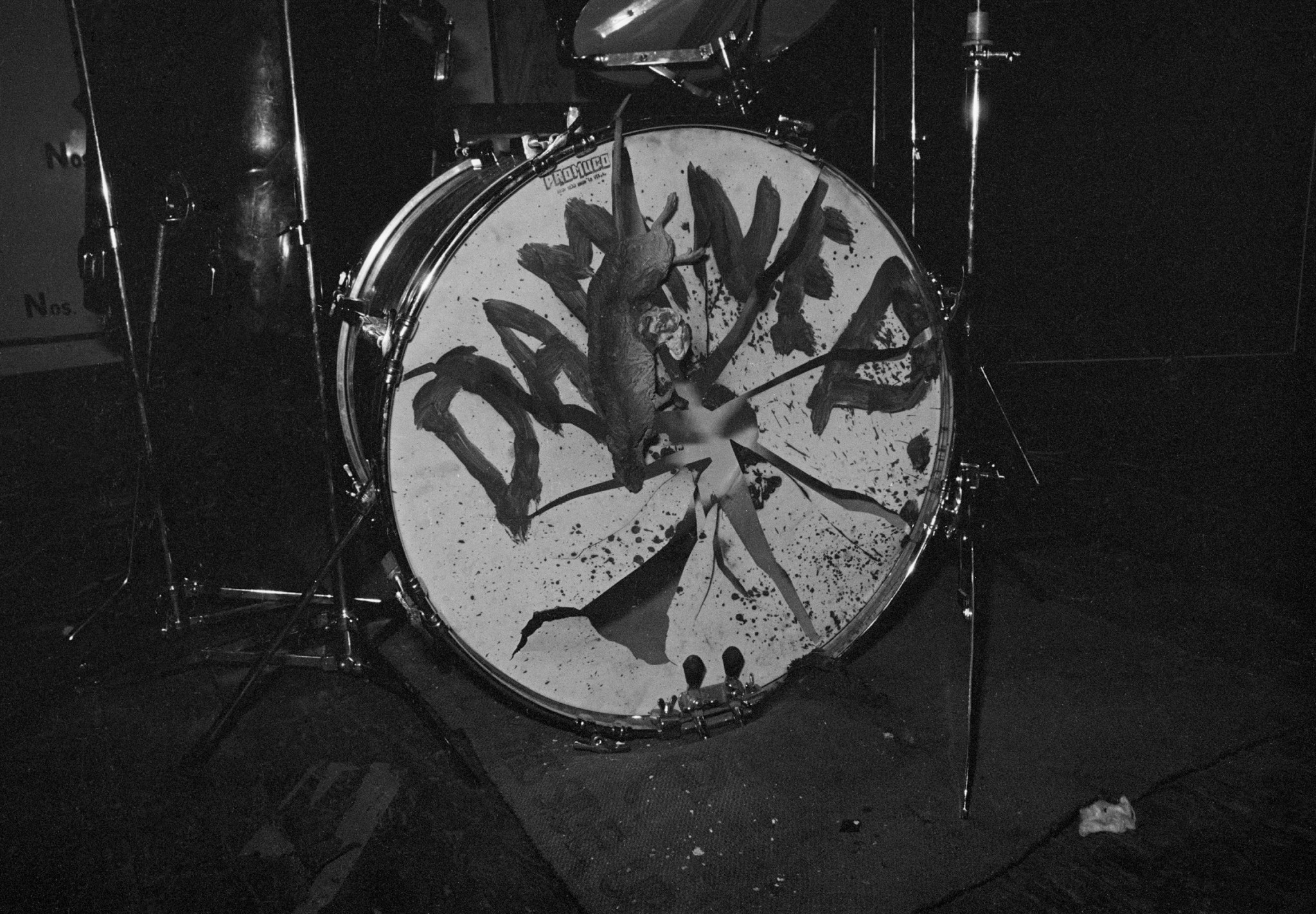 The Damned - Rat Scabies' drumkit live at the Hope & Anchor, London 1 January 1977 (c) John Ingham 1977