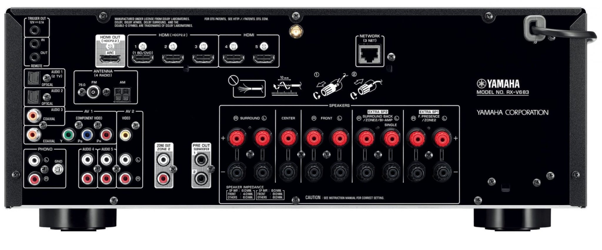 yamaha musiccast multi channel receivers rx v583 and rx. Black Bedroom Furniture Sets. Home Design Ideas