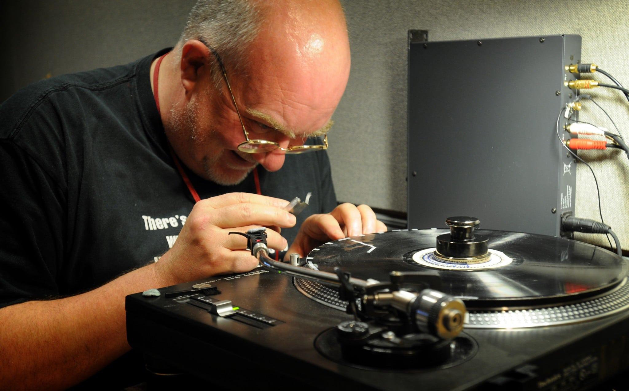 Acetate disc being repaired prior to digitisation