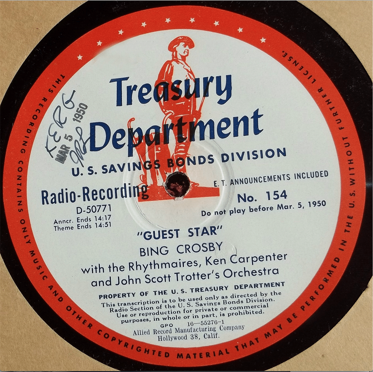 Typcial Bing Crosby Transcription disc