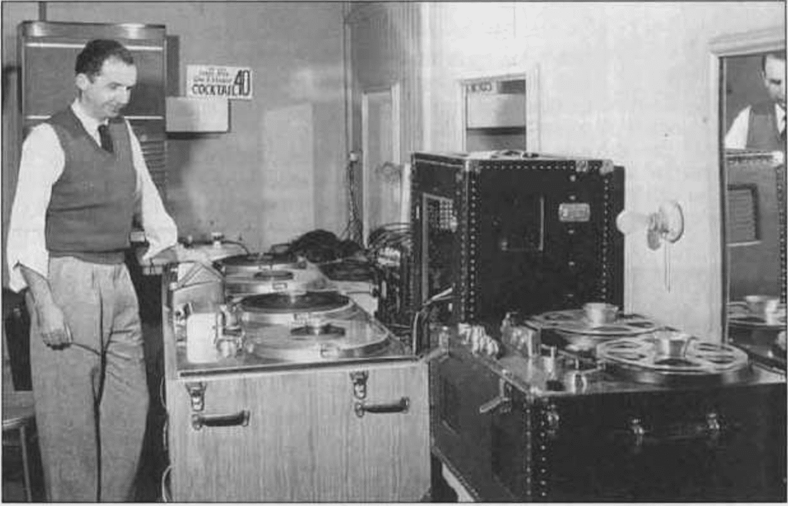 This image from early 1949 shows Jack Mullin in the ABC control room (in NBC) with the first two and only portable Ampex 200 recorders. There also is the first Ampex 300 recorder. (Eve Mullin Collier/Mullin)