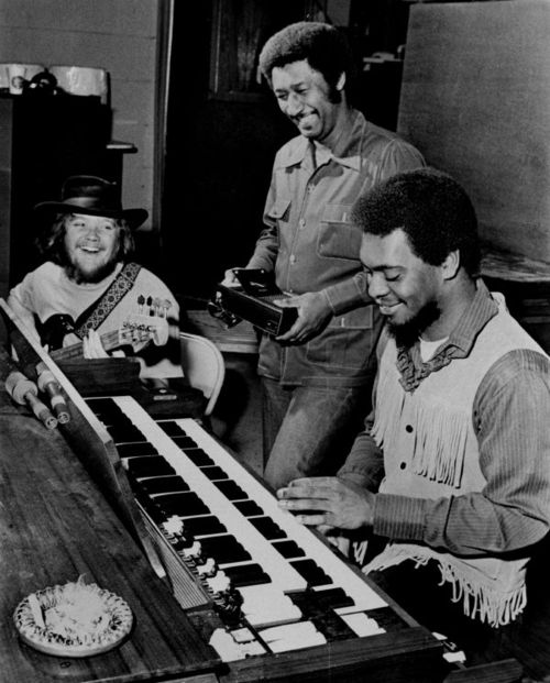 Three members of Booker T. and the MGs (left to right) Duck Dunn, Al Jackson and Booker T. Jones at STAX in a photograph dated Jan. 21, 1970. Fourth member, Steve Cropper, was in New York, producing a group, the Dramatics, for Paramount, and was expected back in a day or two. The group was to tape a television show the following Saturday with Creedence Clearwater Revival and leave Feb. 17 for a tour of Europe. (By Barney Sellers/The Commercial Appeal)